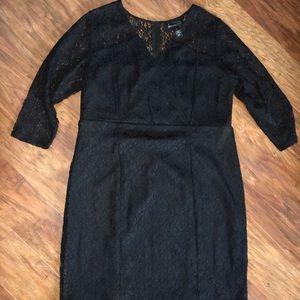 Lane Bryant Black Lace 3/4 Sleeve Dress Size 16